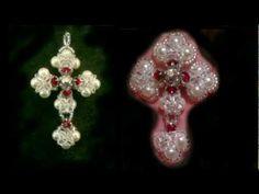 Beaded Victorian cross TUTORIAL video YouTube Swarovski and Miyuki beads
