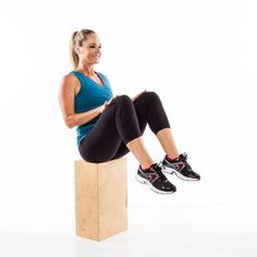 Quickly lift knees up and lightly tap thighs with hands, sitting upright as you draw legs in. Immediately return to start and repeat as quickly as possible for 45 seconds. Tip: Think up during this movement—try to accent the lift, rather than the lowering, of the legs to work your abs more and help keep your heart rate high.
