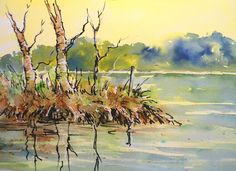 This vivid line and wash was painted using Brusho, a powdered paint made by Colourcraft in the UK. Joanne Thomas will show you how to paint this beautiful landscape on her new DVD. Find out more at BrushoSecrets.com