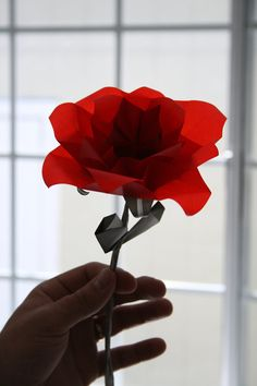 Origami Rose - A single translucent, elegant origami flower folded with radiant vellum paper - Gift Wrapping, Gift Idea $12.00 USD  Flower measures approximately 5 inches across. Flower and stem approximately 10 inches long.