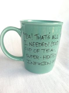 """Doctor Who """"Good cup of tea"""" Tenth Doctor hand painted quote mug with TARDIS - Large turquoise mug. $14.00, via Etsy."""