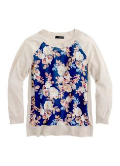 Merino silk-panel sweater in antique floral