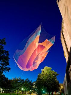 Artist Janet Echelman is currently embarking on her largest artwork ever, a 700-foot-long sculpture suspended over Vancouver. Learn more about the project and see more of her ethereal net installations on Colossal.  http://www.thisiscolossal.com/2014/02/giant-suspended-net-installations-by-janet-echelman/