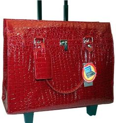 Bugatti Women Red Croco Embossed Rolling Briefcase Laptop $144.99