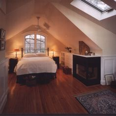attic fireplace in bedroom Attic bedroom, A line ceiling