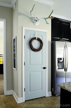 moor palladian, pantri door, antler, pantry doors, blue doors, palladian blue, door colors, mud rooms, pantry door color
