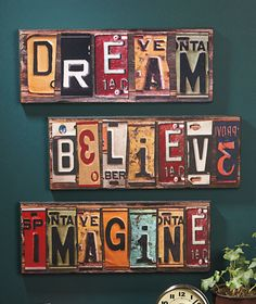 License plate wall art.