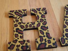 Leopard Print Letters by lnvanors on Etsy, $12.00- for nursery