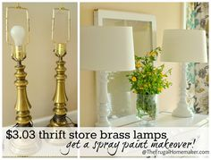 Spray painted brass lamps:  Clean lamps well.  Apply several light coats of Krylon white primer; then several coats of Krylon gloss white spray paint; then, after 48 hours, Krylon Acrylic Crystal Clear high gloss spray paint.  (I'd like to try this with brass light fixture and wall sconces.)