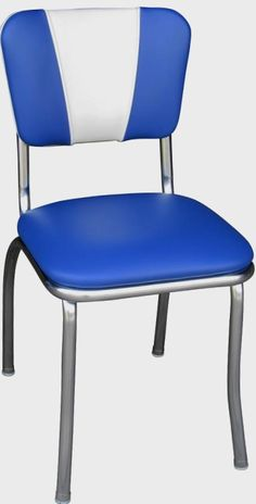 "Commercial Grade Royal Blue / White V-Pattern Backrest Diner Chair with 1"" Pulled Seat $129.00"