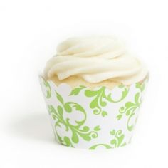 Kiwi Green Filigree Cupcake Wrappers