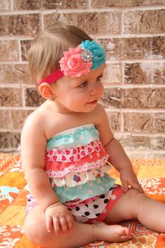 Multicolor Posh Strapless Romper and Headband by AtkinsonDesigns, $20.00