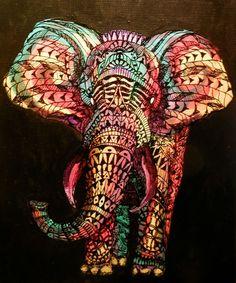 Elephant tribal line art