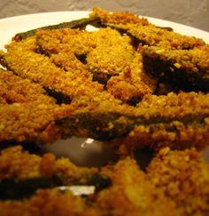 Almond Crusted Baked Okra Olive Oil, Baking Okra, Breeze Harpers, Originals Recipe, Almond Crusts, Harpers Originals, Fresh Okra, Long Width, Crusts Baking