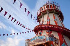 Seaside Fun fair helter skelter