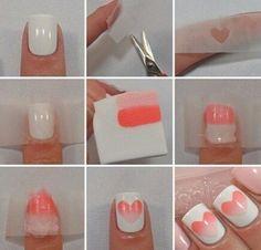 Ombré heart nails