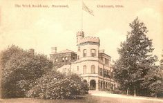Postcard of Werk Castle on the corner of Harrison Ave. and Werk Road in the Westwood neighborhood of Cincinnati, Ohio. Built in 1897, it was also called Werk Place, and Werk Manor. It was built by Eugenie M. Werk the spinster daughter of Michael Werk, a pioneer Cincinnati soap and candle producer and was also known for his wine and champagne. The home was razed in 1939. Werk Residence-Westwood.jpg (1076×680)