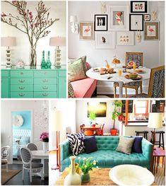 decor, interior, color palettes, couch, color schemes, dresser, mint, hous, bright colors