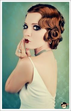 modern 20s make-up 1920s wedding, makeup, style hair, wedding hairs, flapper, pin curls, 20s style, 1920s hair, finger waves