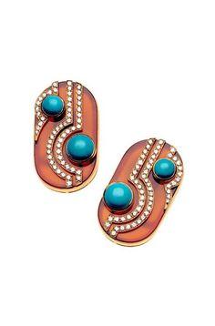 Earrings in gold with cornelian, turquoise and diamonds, 1970