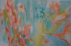 Art Abstract Original Peach Coral Green Blue by susanskelleyart, $110.00