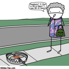 Comic by Natalie Dee: grandma trap