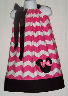 Minnie Mouse Pink CHEVRON Black Pillowcase Dress / Christmas/ Birthday / Newborn / Infant / Toddler / Baby Girl / Custom Boutique Clothing