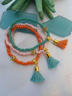 SALE BOHEMIAN TASSEL Bracelets Gypsy bracelets Tassel by Nezihe1, $12.00