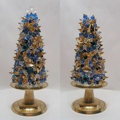 Vintage Jewelry Christmas Tree Blue Gold Free Standing TableTop Not Framed #834