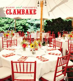 color, clambake party, linens, lobster, clam bakes