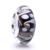 Coffee Ocean Wave Murano Glass Bead Sterling Silver