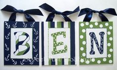 Nautical Blue Green custom 8x10 canvas letter name sign wall monogram initial art baby nursery white anchor dots stripes sail sea. $12.00, via Etsy.