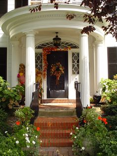 Stunning Entry entry doors, front door, fall decoracion, portico, fall autumn, autumn porch, hous, entryway, covered porches