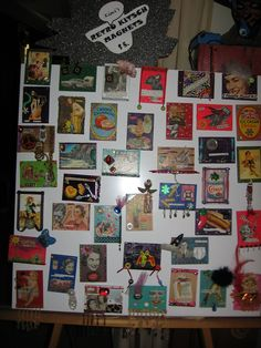 "retro kitsch art on 2 1/2 x 4"" wood. magnets 5 bucks 2 bucks s/h"