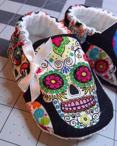 Scull, Baby Booties, Rockabilly, Day of The Dead,Dia De Los Muertos, Soft Sole Shoe, Crib Shoe, Baby Slipper, Baby Girl Booties