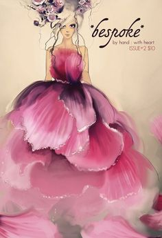 dress fashion, flower dresses, art, pink, flower fairies, inspiring pictures, flower girls, fashion drawings, fashion illustrations