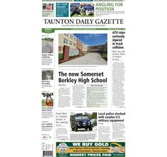 The front page of the Taunton Daily Gazette for Monday, Aug. 25, 2014.