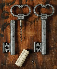 Antique Silver Skeleton Key Bottle Opener & Cork Pull