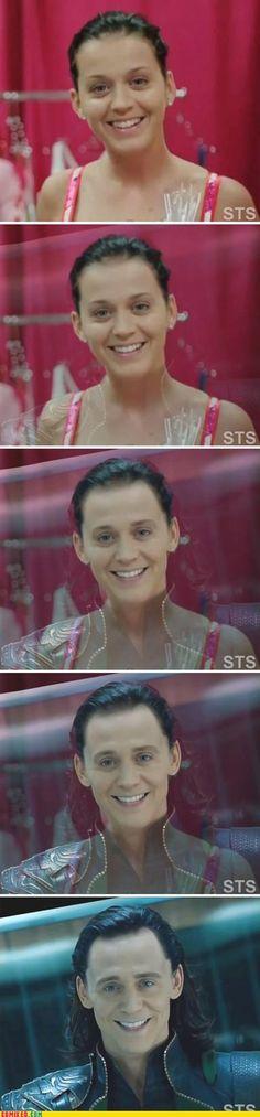 Katy Perry transforms into Loki, too friggin funny!!!!