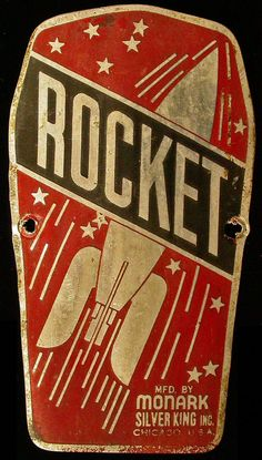 space graphics, bicycl, vintage bike head badge, rocket logo, great logos, label, rockets, old bikes, rocket graphic