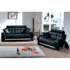 Black Leather w/Silver Backwall Sofa and Loveseat Set