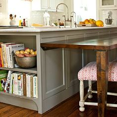 Double-Duty #Kitchen Island| If you don't have room for a freestanding dining table, a lower, custom-built extension of the island in a dark natural wood provides the ideal solution.