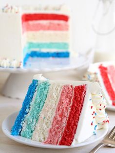 Red, white and blue ombré cake from completelydelicious.com. Perfect for the 4th of July!