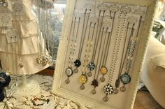 Boards are a good idea for displaying necklaces.