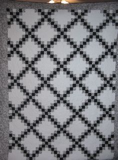 Black and white double Irish chain quilt