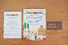 Illustrated invite, via ruffledblog's outdoor lake tahoe wedding
