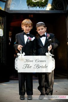 Here Comes The Bride Wedding Signs Wedding by familyattic on Etsy.com