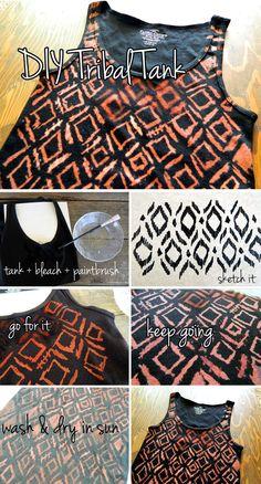 diy tribal, bleach paint, paint tank top diy, bleach tank, bleach pattern, tribal tank, diy clothing dye, embellish cloth, diy bleach