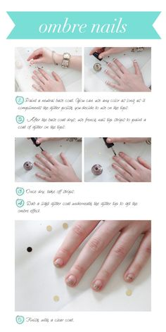 nail tips, glitter ombre nails how to, stuff, ombr glitter, diy ombr, glitter nails, beauti, ombr nail, nail howto