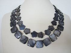 Grey Mother of Pearl double strand necklace Beach by yasmi65, $32.00